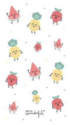 Fruit Wallpaper Pattern Ideas For 2019 - Fruit / - Fruit Cute Disney Wallpaper, Kawaii Wallpaper, Girl Wallpaper, Cartoon Wallpaper, Pattern Wallpaper, Cute Wallpaper Backgrounds, Pretty Wallpapers, Wallpaper Iphone Cute, Cellphone Wallpaper
