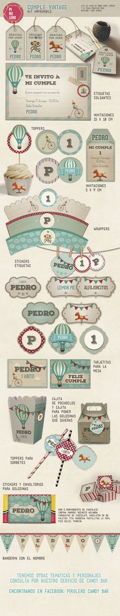 Cumple vintage aguamarina #printable #vintageparty