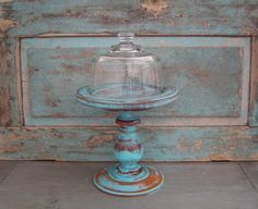 Pedestal Cloche Turquoise Distressed Wood $29