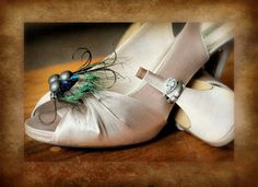 Shoe Clips Gorgeous Peacock. Diva Fall Autumn Holidays, Couture Preppy Bold Metallic Statement Stunning Teal Green Aqua, Shoe Lover Gift. $39.50, via Etsy.