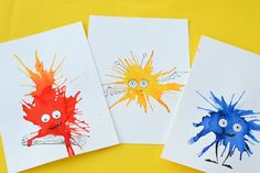 Friendly Monster Watercolour Blow Art with Straws - Adventure in a Box