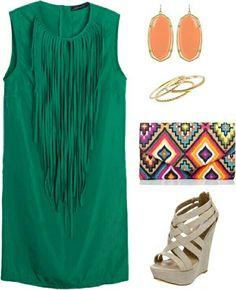 Verde con flecos