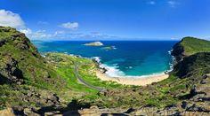 Makapuu Beach & Sea Life Park at the Eastern tip of Oahu. The winding road is Kalanianaole Highway.