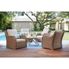 Home Decorators Collection Gwendolyn Wicker Patio Deep Seating Set with Sunbrella Cast Ash Cushions - The Home Depot Best Outdoor Furniture, Deck Furniture, Rustic Furniture, Furniture Ideas, Antique Furniture, Industrial Furniture, Modern Furniture, Pallet Furniture, Furniture Design
