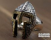 Silver-Brass Spartan Ring, Rustic Warriors Helmet Ring, Spartan Helmet Ring, Open Ring, Wide Open Ring Band