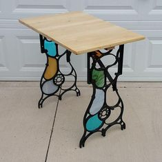 """2016 Online Art Glass Festival 2nd Other Crafts """"Utility Table Made Of Old Treadle Sewing Machine Supports"""" by David Goldman"""