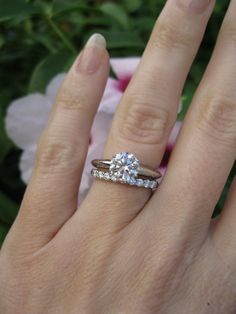 if anyone ask about a ring for my engagement this is exactly what i want the tiffany setting engagement ring and shared setting band ring in platinum with - Solitaire Engagement Ring With Diamond Wedding Band