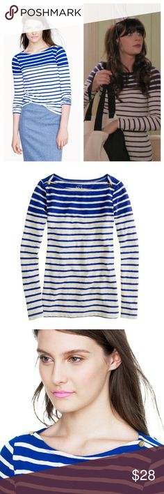 J.crew / painter boatneck in blue stripe PRODUCT DETAILS Spun from silky slub cotton jersey, our painter tees love to be layered but are substantial enough to go it alone (the hallmark of a true wardrobe staple, if you ask us). Forever fans of a classic striped boatneck, we're smitten with this version's fresh take on the original—note the engineered double stripe and fully functional gold-button hardware for a luxe touch of polish.  Cotton. Slim fit. Machine wash. Import. Item 93119. J…