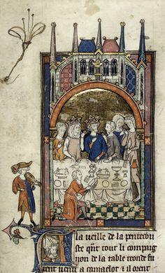 Royal 14 E III   f. 89   Arthur, Guinevere, and Lancelot
