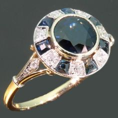 Blue sapphires diamonds ring vintage Art Deco jewelry