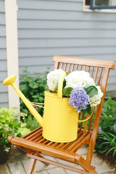 Watering can of hydrangea