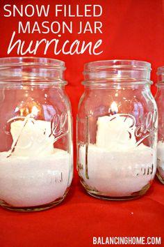 Snow Filled Mason Jar Holiday Hurricane