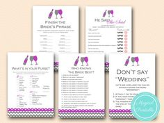 purple wine themed bridal shower games pack, winery bridal shower games