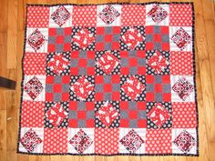 Red and Black Alien Quilt by BeckiesBlankies on Etsy, $80.00