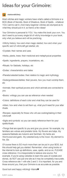 "mama-witchery: "" Most witches and magic workers have what's called a Grimoire or a BOS (Book of Secrets, Book of Shadows, Book of Spells…whatever YOU want to call it.) And many beginner witches are. Wicca Witchcraft, Magick, Writing Tips, Writing Prompts, Tarot, Reiki, Witch Board, Which Witch, Modern Witch"