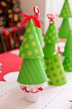 DIY Christmas Tree Table Decor - created using party hats!