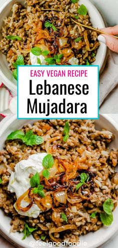 Recipes Vegetarian Mujadara is a traditional Middle Eastern recipe that's made with three ingredients: lentils, rice and onions. It's inexpensive to make, delicious & nutritious Lentil Recipes, Vegan Recipes Easy, Veggie Recipes, Cooking Recipes, Recipes With Rice Vegetarian, Arab Food Recipes, Lebanese Food Recipes, Lebanese Cuisine, Recipes Dinner