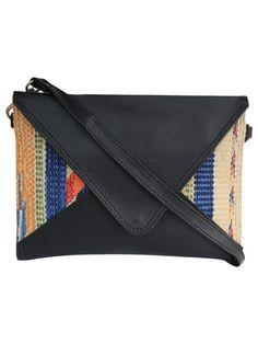 Black Multi Color Cotton Kilim Faux Leather Mini Sling Bag
