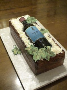 Wine Bottle in a Crate - Everything is edible. The bottle was molded over a real wine bottle. website www.celebratewithcake.net