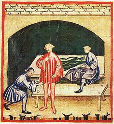 Getting dressed or a fitting with woolen clothing. It is recommended that if you get itchy, to wear linen clothing underneath. The Theatrum of the Casanatense Library - late 14th century