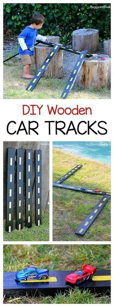 DIY Wooden Roads and Ramps for Toy Cars . - DIY Wooden Roads and Ramps for Toy Cars: Easy homemade car tracks perfect for outdoor and inside pla - Kids Outdoor Play, Outdoor Play Spaces, Outdoor Learning, Backyard For Kids, Diy For Kids, Outdoor Car Track For Kids, Diy Toys For Toddlers, Diy Outdoor Toys, Kids Outdoor Crafts