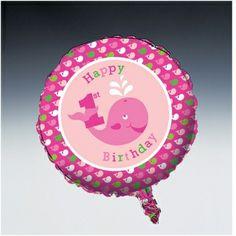 Ocean Preppy Girls 1st Birthday Party Foil Metallic Balloons