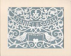 Woodland Wedding Gift Personalized Handcut Papercut Wall Art