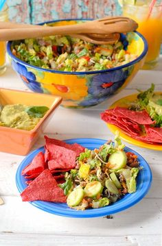 Think a deconstructed taco becomes a salad! Salad Ole with Tequila-Avocado-Lime Dressing -  BoulderLocavore.com