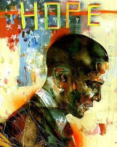 I got my original #hope painting back from the WhiteHouse back to K town  - David Choe - Obama Hope painting