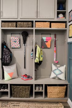 Creating our mudroom was literally a dream come true for me! Mudroom organisation ideas from East Coast Creative Backpack Storage, Entry Closet, Stock Cabinets, Organization Hacks, School Organization, Organizing Ideas, Diy Home Decor Projects, Beautiful Space, Cubbies