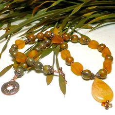 Golden Quartz Pendant with Bamboo Jasper Desert Gold Nugget Necklace | KatsAllThat - Jewelry on ArtFire #bmecountdown