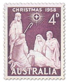 AUSTRALIA - CIRCA post stamp printed in Australia shows nativity; Rare Stamps, Vintage Stamps, Christmas Art, Vintage Christmas, Christmas Nativity, Christmas In Australia, Postage Stamp Design, Commemorative Stamps, Stamp Printing