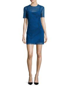 DIANE VON FURSTENBERG Short-Sleeve Chain Lace Mini Dress, Blue. #dianevonfurstenberg #cloth #