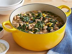 White Bean and Chicken Chili- reduced the salt called for in this recipe and used red kale. Yum.