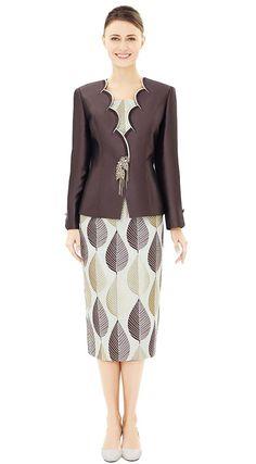 f57bdd9827dcbf Nina Massini 2545 Scalloped Trimmed Jacket   Skirt Suit With Leaf Design  Print - Fall 2018 - ExpressURWay