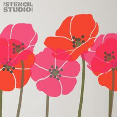 Tall Poppies Flower Stencil, reusable wall stencil for home decor and more