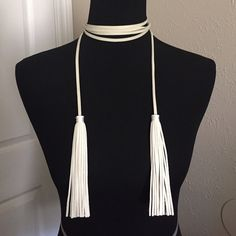 Vanilla Faux Suede Tassel Necklace Single strand. No fasteners. Brand new retail. No box. No trades, no holding, no offline/App transactions. AVAILABLE IN ADDITIONAL COLORS       PRICE IS FIRM UNLESS BUNDLED                  No offers entertained                   5% off bundles  Jewelry Necklaces
