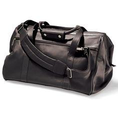The Widemouth Leather Weekend Bag - Hammacher Schlemmer
