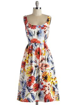 Felicity and Colour Dress. Spend the afternoon swooning over the vinyl of your favorite folk crooner in this beautifully blooming frock! #multi #modcloth