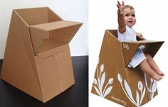 Baby on (Card)Board: Designer Creates Eco-Friendly Baby Seat : TreeHugger Cardboard Cartons, Cardboard Paper, Cardboard Design, Cardboard Boxes, Origami Furniture, Patterned Furniture, Eco Kids, Baby Chair, Cardboard Packaging