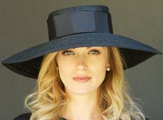 Black Wide Brim Milan Straw Ladies Kentucky Derby by AwardDesign, $115.00