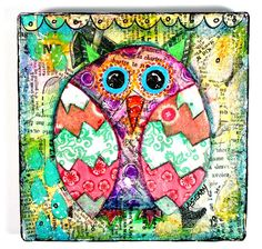 Whimsical painting owl painting  large gift by ArtByAlisaSteady, $55.00