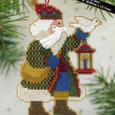 Dove Santa Bead Cross Stitch Ornament Kit Mill Hill - $4.99
