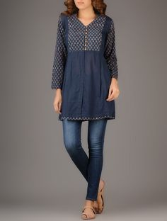 Buy Indigo Red Ajrakh printed Pleated Cotton Tunic Women Tunics Online at Jaypore.com