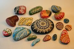 painted pebbles by Aud Marso, via Flickr