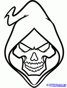 how to draw a grim reaper face step