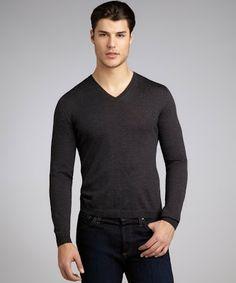 Prada anthracite wool long sleeve v-neck sweater