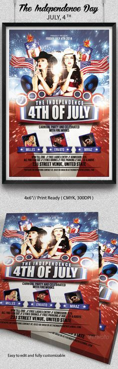 USA Independence Day 4th of July Post Card Independence day - independence day flyer