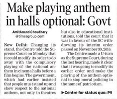 Reconsider order making it mandatory for cinema halls to play the national anthem before screening a feature film, Central Government told Supreme Court. #LegalLawyersinHyderabad        #LegalAdvocatesinHyderabad #AbhayaLegalServices                 #LegalServicesinHyderabad