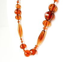 Vintage Amber Glass Necklace in Long Single Strand Design with